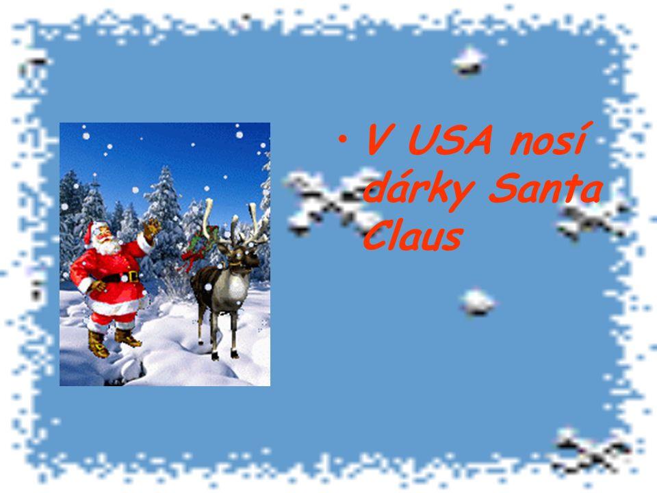 V USA nosí dárky Santa Claus