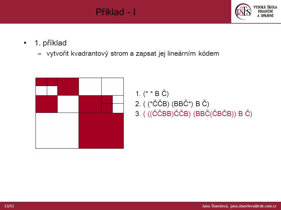 1. příklad –vytvořit kvadrantový strom a zapsat jej lineárním kódem 1.