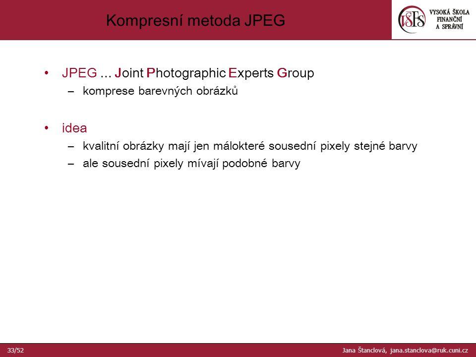 Kompresní metoda JPEG JPEG...