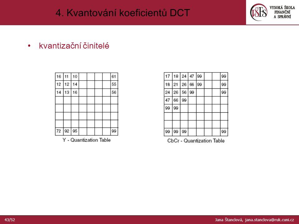 kvantizační činitelé 4. Kvantování koeficientů DCT 43/52 Jana Štanclová, jana.stanclova@ruk.cuni.cz