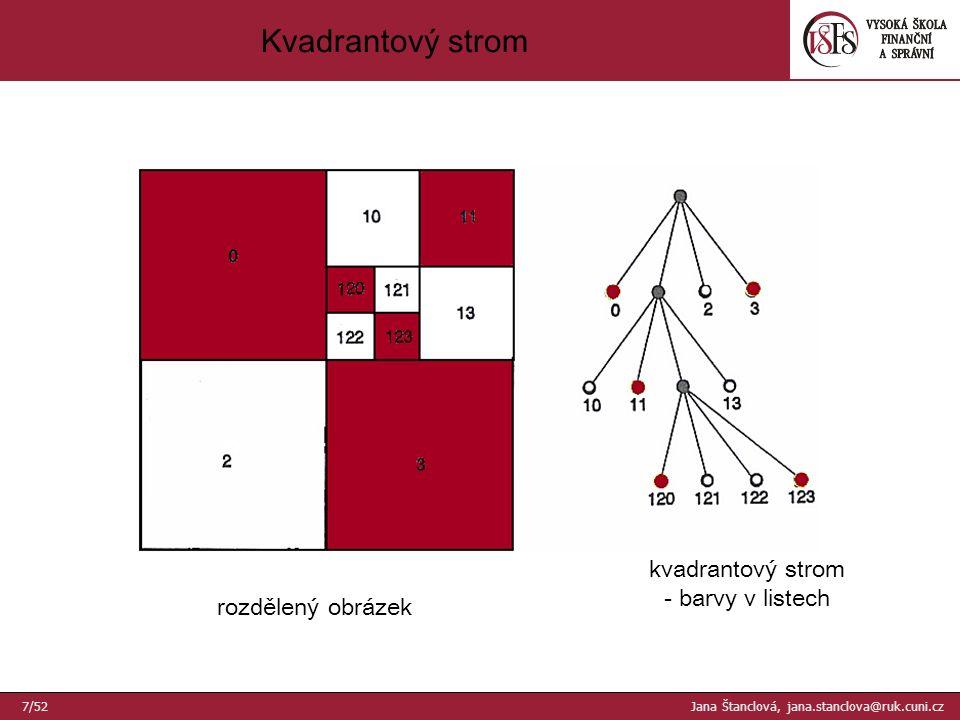 rozdělený obrázek kvadrantový strom - barvy v listech Kvadrantový strom 7/52 Jana Štanclová, jana.stanclova@ruk.cuni.cz