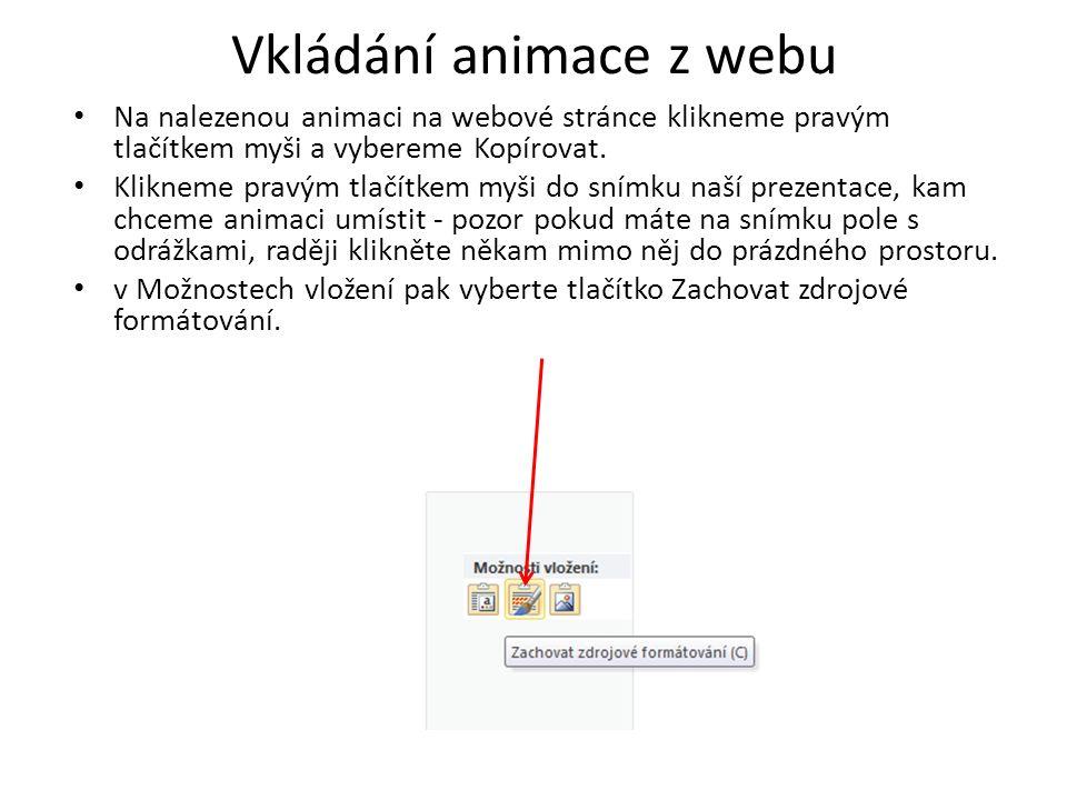 Vkládání animace z webu Na nalezenou animaci na webové stránce klikneme pravým tlačítkem myši a vybereme Kopírovat. Klikneme pravým tlačítkem myši do