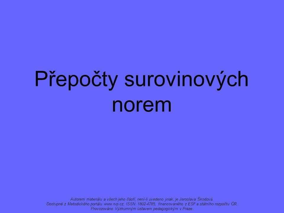 Přepočty surovinových norem Autorem materiálu a všech jeho částí, není-li uvedeno jinak, je Jaroslava Škodová.