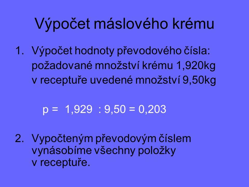 Výpočet máslového krému 1.Výpočet hodnoty převodového čísla: požadované množství krému 1,920kg v receptuře uvedené množství 9,50kg p = 1,929 : 9,50 = 0,203 2.Vypočteným převodovým číslem vynásobíme všechny položky v receptuře.