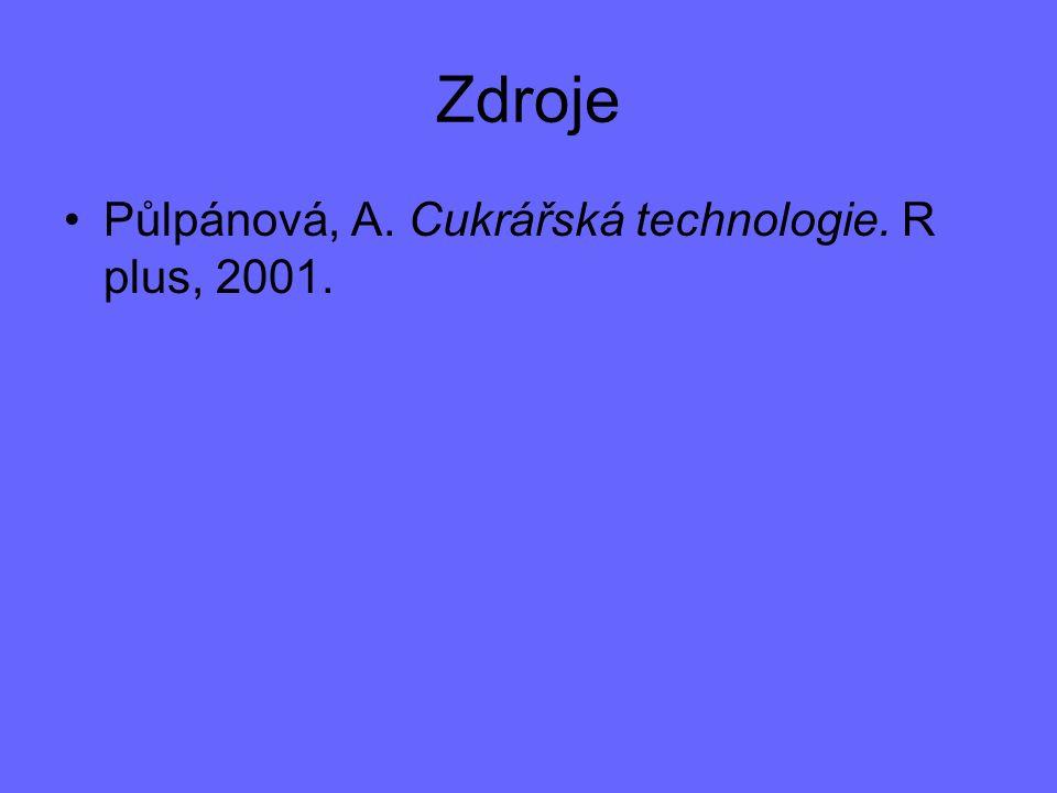 Zdroje Půlpánová, A. Cukrářská technologie. R plus, 2001.