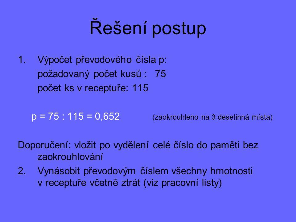 Řešení postup 1.Výpočet převodového čísla p: požadovaný počet kusů : 75 počet ks v receptuře: 115 p = 75 : 115 = 0,652 (zaokrouhleno na 3 desetinná mí