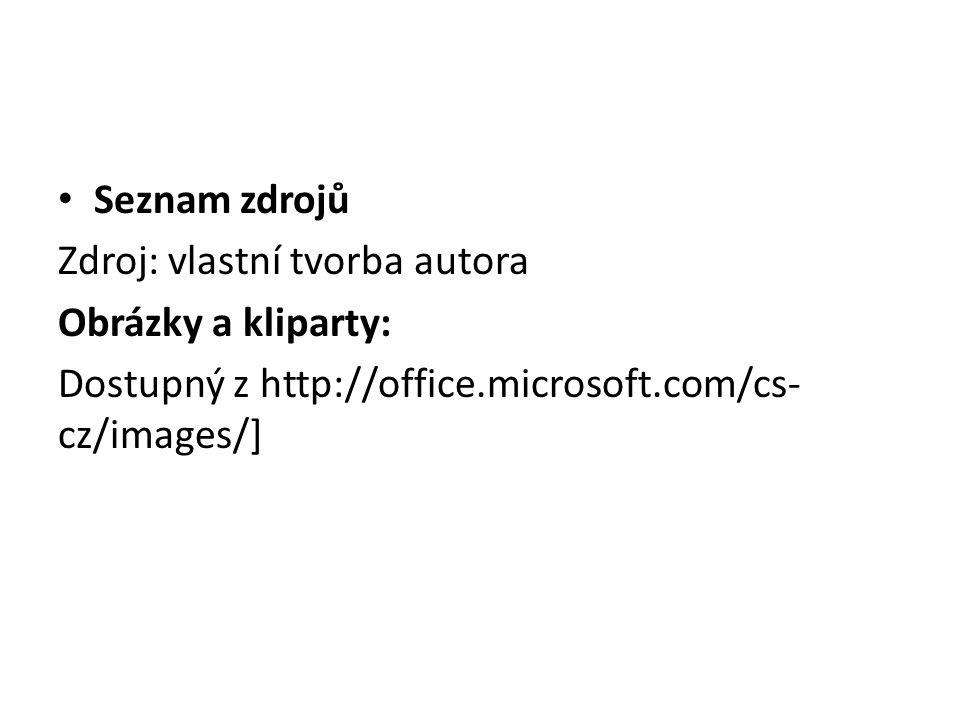 Seznam zdrojů Zdroj: vlastní tvorba autora Obrázky a kliparty: Dostupný z http://office.microsoft.com/cs- cz/images/]