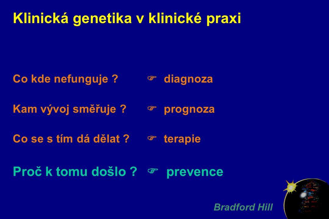 Klinická genetika v klinické praxi Co kde nefunguje ?  diagnoza Kam vývoj směřuje ?  prognoza Co se s tím dá dělat ?  terapie Proč k tomu došlo ? 