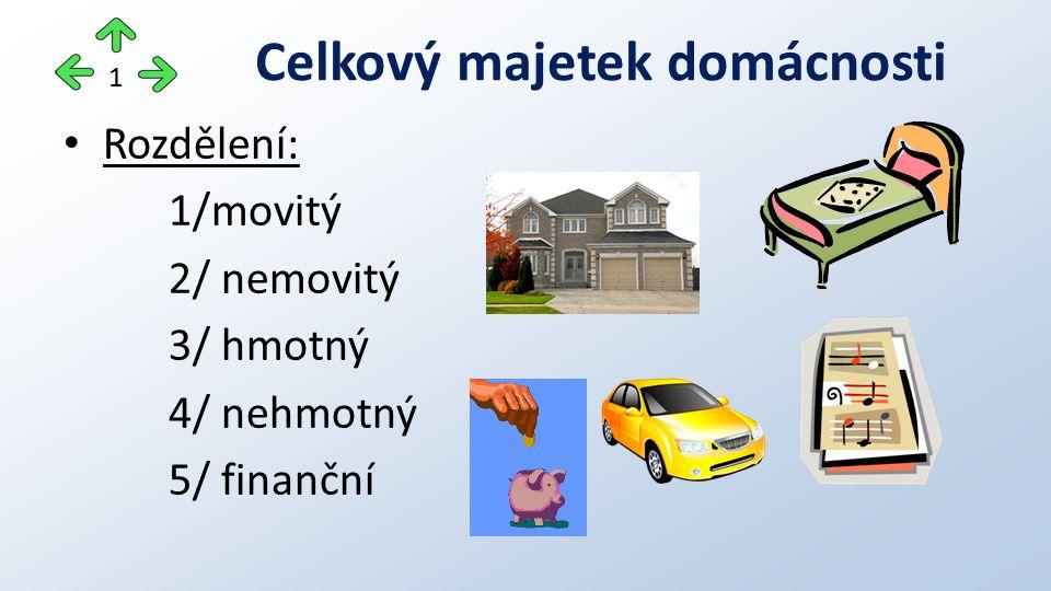 Rozdělení: 1/movitý 2/ nemovitý 3/ hmotný 4/ nehmotný 5/ finanční Celkový majetek domácnosti 1