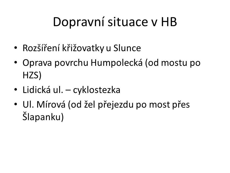 Dopravní situace v HB Rozšíření křižovatky u Slunce Oprava povrchu Humpolecká (od mostu po HZS) Lidická ul. – cyklostezka Ul. Mírová (od žel přejezdu