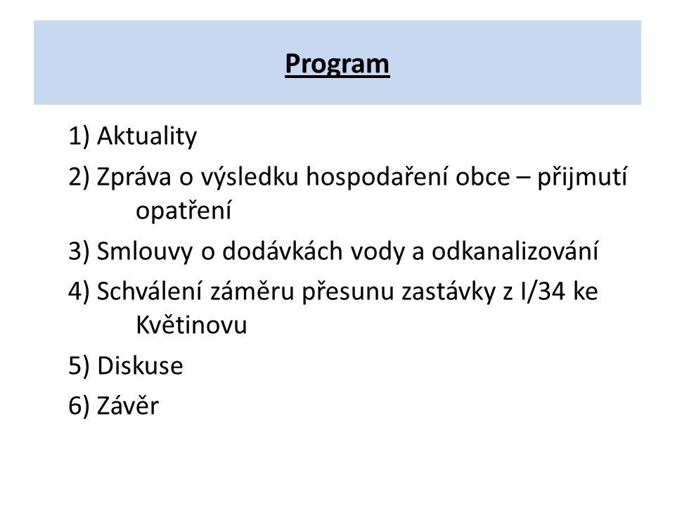 Program 1) Aktuality 2) Zpráva o výsledku hospodaření obce – přijmutí opatření 3) Smlouvy o dodávkách vody a odkanalizování 4) Schválení záměru přesun