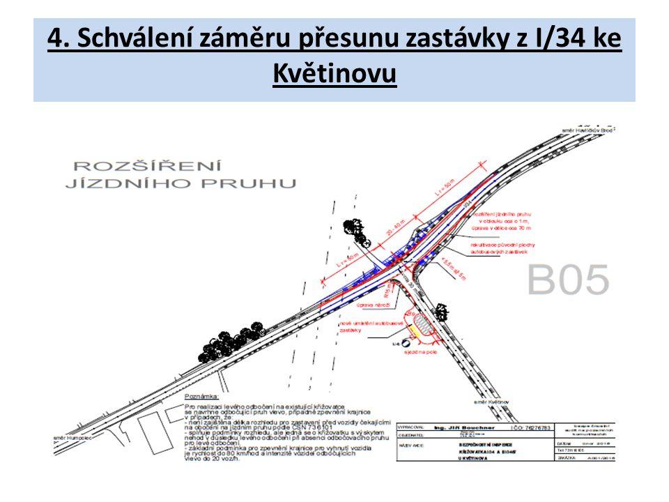 4. Schválení záměru přesunu zastávky z I/34 ke Květinovu