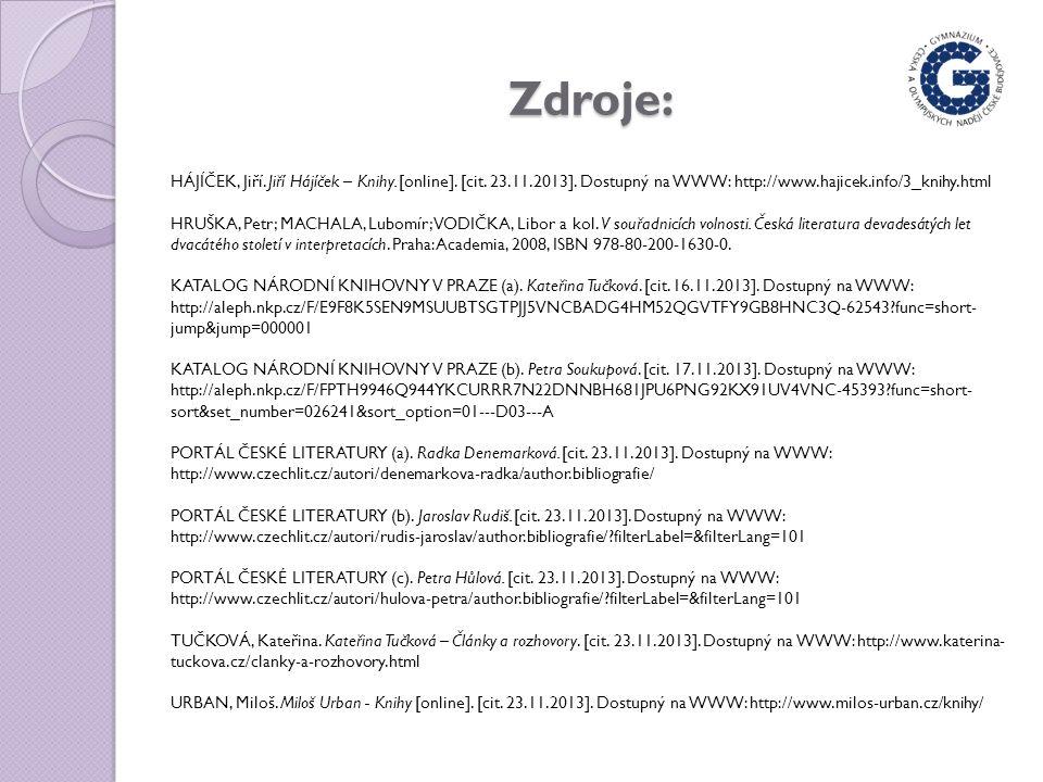 Zdroje: HÁJÍČEK, Jiří. Jiří Hájíček – Knihy. [online].
