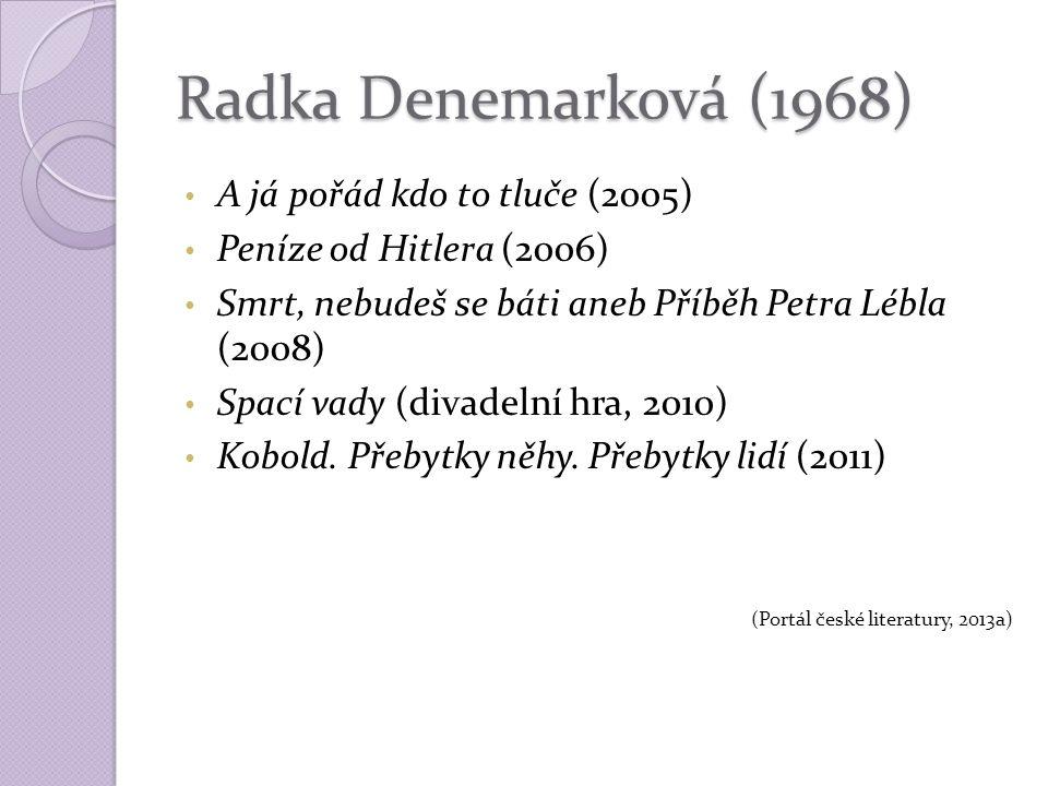 Radka Denemarková (1968) A já pořád kdo to tluče (2005) Peníze od Hitlera (2006) Smrt, nebudeš se báti aneb Příběh Petra Lébla (2008) Spací vady (divadelní hra, 2010) Kobold.