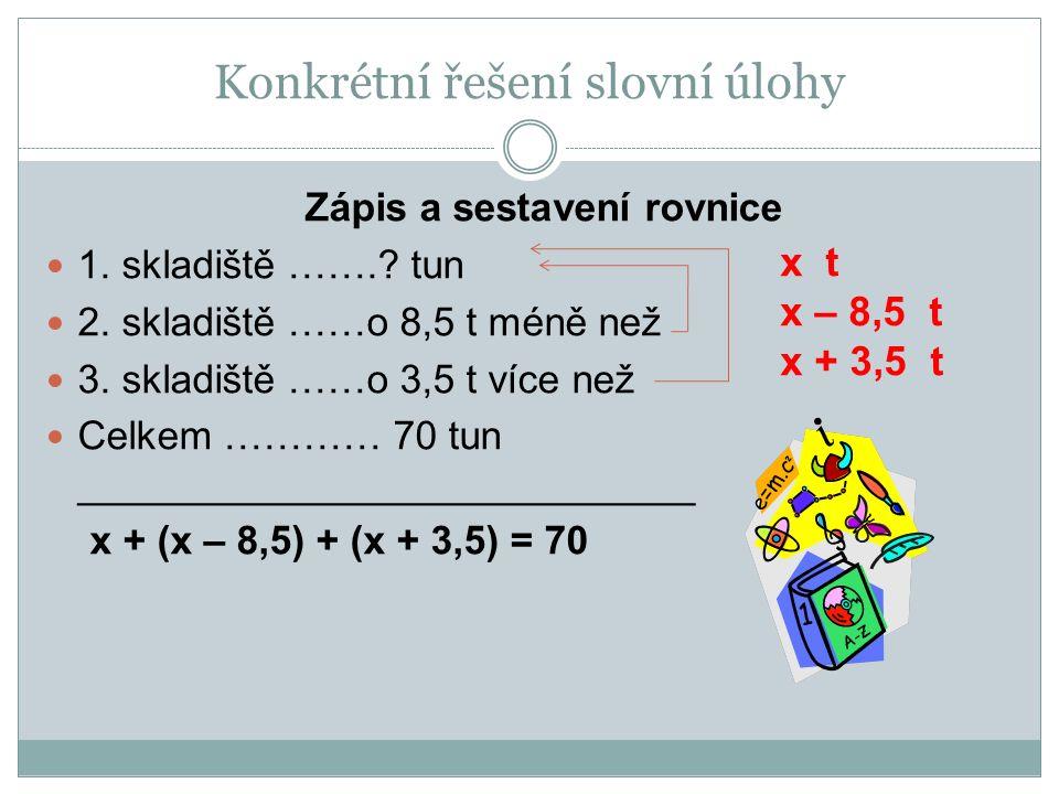 Zápis a sestavení rovnice 1. skladiště …….? tun 2. skladiště ……o 8,5 t méně než 3. skladiště ……o 3,5 t více než Celkem ………… 70 tun ___________________