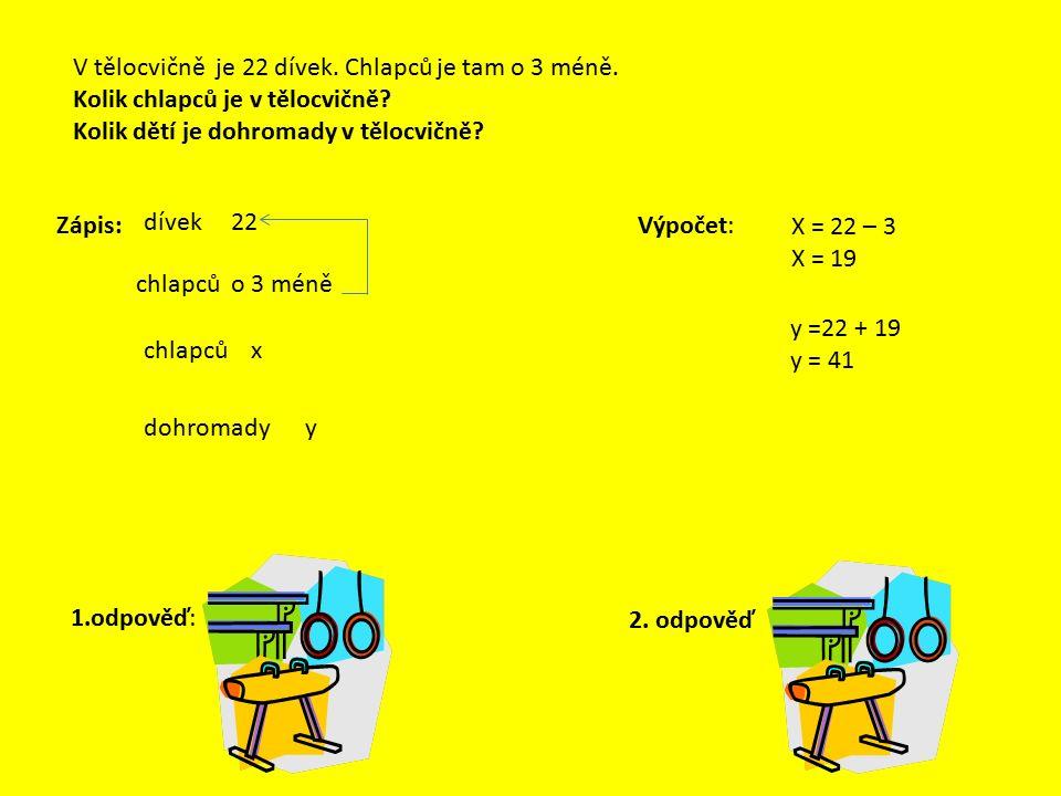 Užití závorek Výpočtem v závorce zjistíme počet chlapců. (22 – 3) +22 = 41