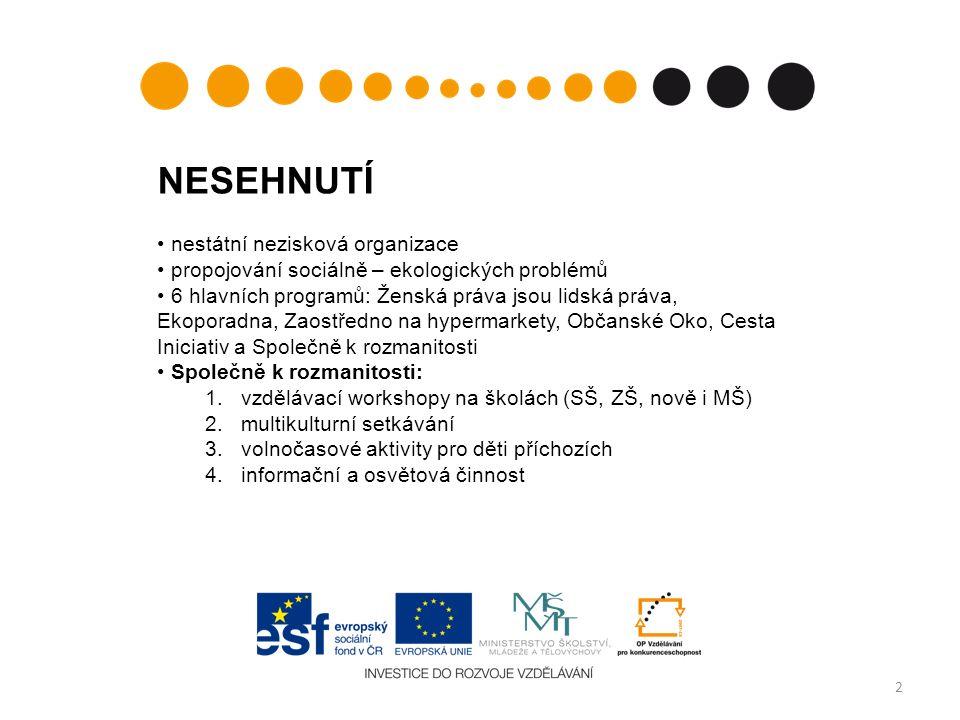 2 NESEHNUTÍ nestátní nezisková organizace propojování sociálně – ekologických problémů 6 hlavních programů: Ženská práva jsou lidská práva, Ekoporadna, Zaostředno na hypermarkety, Občanské Oko, Cesta Iniciativ a Společně k rozmanitosti Společně k rozmanitosti: 1.