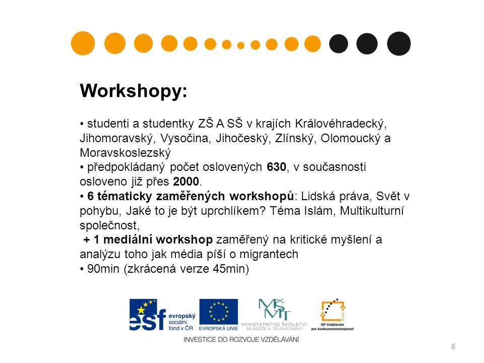 6 Workshopy: studenti a studentky ZŠ A SŠ v krajích Královéhradecký, Jihomoravský, Vysočina, Jihočeský, Zlínský, Olomoucký a Moravskoslezský předpokládaný počet oslovených 630, v současnosti osloveno již přes 2000.