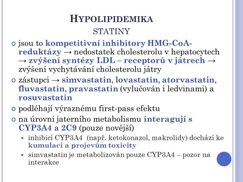 H YPOLIPIDEMIKA STATINY jsou to kompetitivní inhibitory HMG-CoA- reduktázy → nedostatek cholesterolu v hepatocytech → zvýšení syntézy LDL – receptorů
