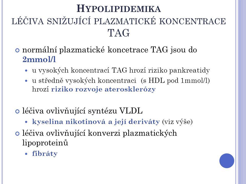 H YPOLIPIDEMIKA LÉČIVA SNIŽUJÍCÍ PLAZMATICKÉ KONCENTRACE TAG normální plazmatické koncetrace TAG jsou do 2mmol/l u vysokých koncentrací TAG hrozí rizi