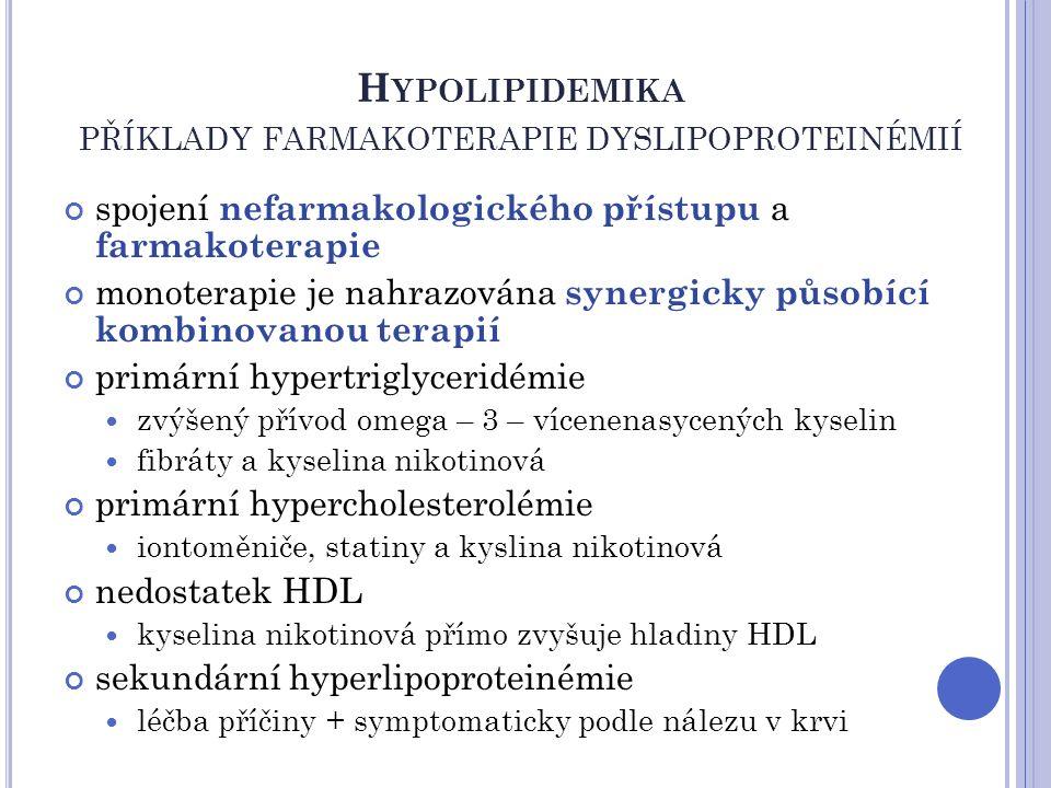 H YPOLIPIDEMIKA PŘÍKLADY FARMAKOTERAPIE DYSLIPOPROTEINÉMIÍ spojení nefarmakologického přístupu a farmakoterapie monoterapie je nahrazována synergicky