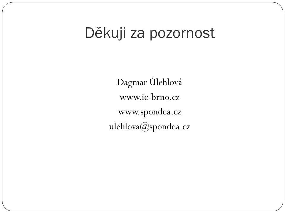 Děkuji za pozornost Dagmar Úlehlová www.ic-brno.cz www.spondea.cz ulehlova@spondea.cz