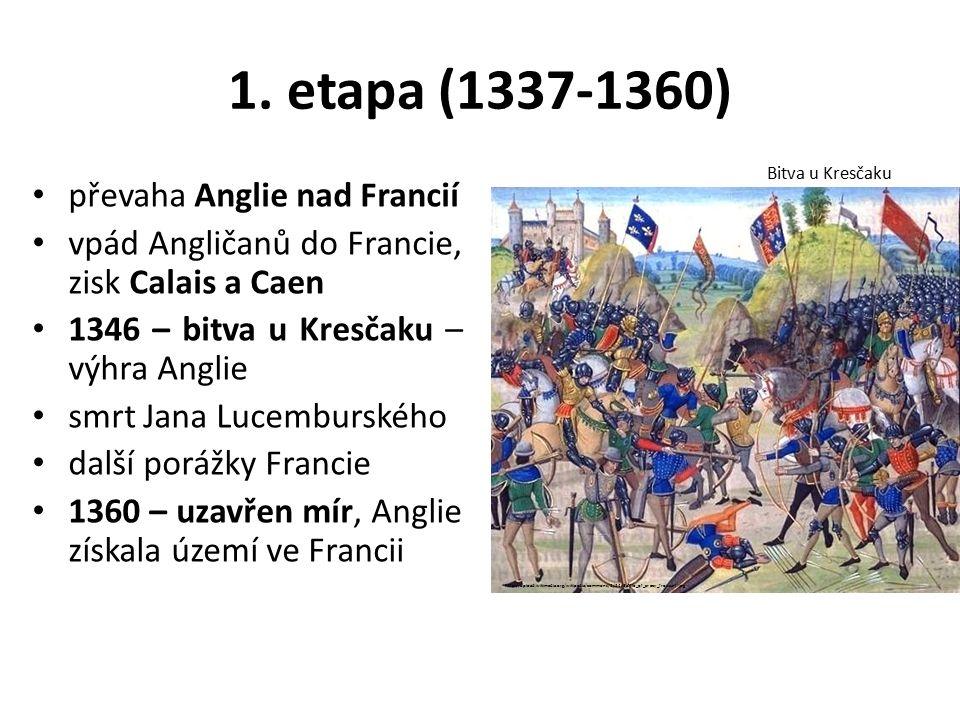 1. etapa (1337-1360) převaha Anglie nad Francií vpád Angličanů do Francie, zisk Calais a Caen 1346 – bitva u Kresčaku – výhra Anglie smrt Jana Lucembu