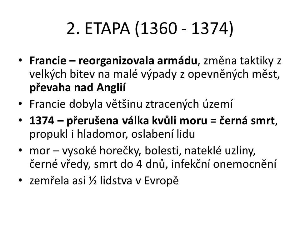 2. ETAPA (1360 - 1374) Francie – reorganizovala armádu, změna taktiky z velkých bitev na malé výpady z opevněných měst, převaha nad Anglií Francie dob