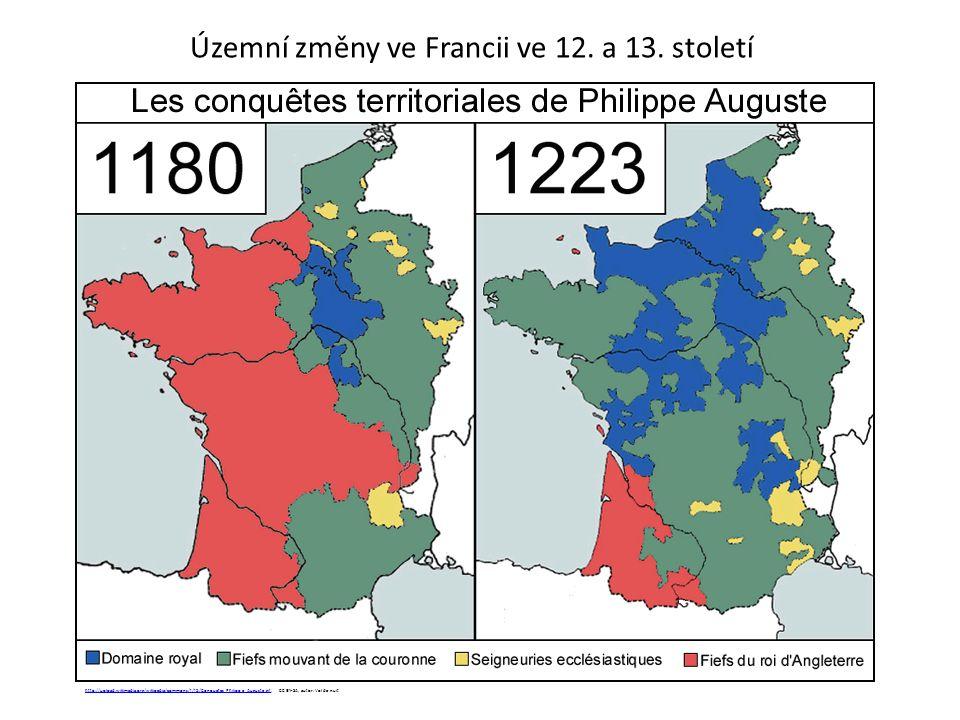 Územní změny ve Francii ve 12. a 13. století http://upload.wikimedia.org/wikipedia/commons/f/f5/Conquetes_Philippe_Auguste.gifhttp://upload.wikimedia.