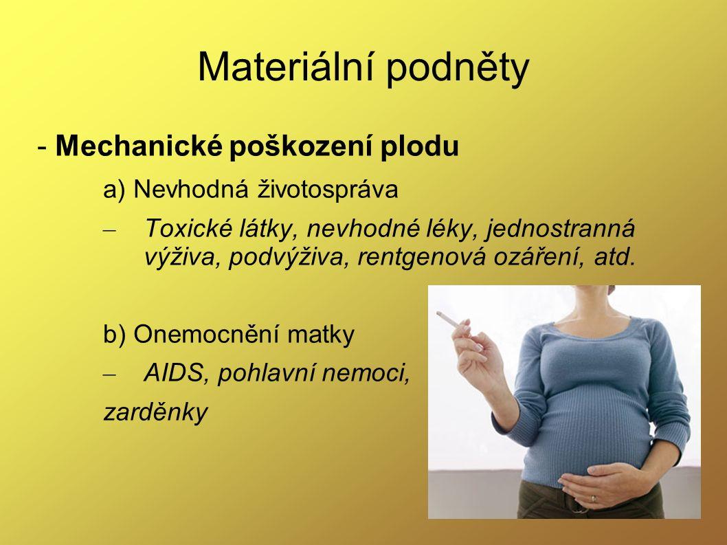 Materiální podněty - Mechanické poškození plodu a) Nevhodná životospráva – Toxické látky, nevhodné léky, jednostranná výživa, podvýživa, rentgenová oz