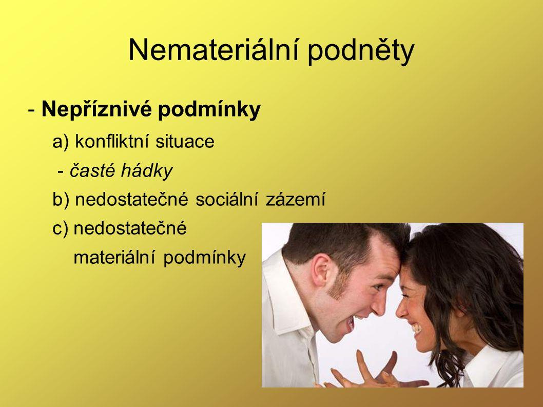 Nemateriální podněty - Nepříznivé podmínky a) konfliktní situace - časté hádky b) nedostatečné sociální zázemí c) nedostatečné materiální podmínky