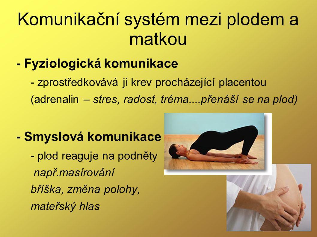 Komunikační systém mezi plodem a matkou - Fyziologická komunikace - zprostředkovává ji krev procházející placentou (adrenalin – stres, radost, tréma..