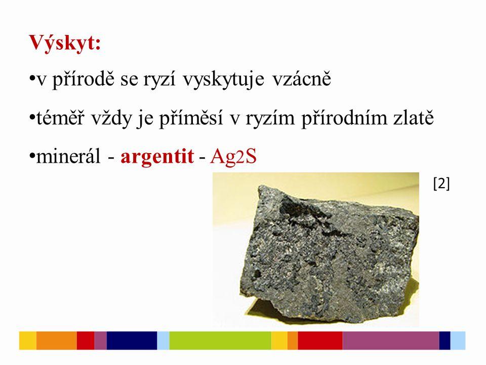 Výskyt: v přírodě se ryzí vyskytuje vzácně téměř vždy je příměsí v ryzím přírodním zlatě minerál - argentit - Ag 2 S [2]