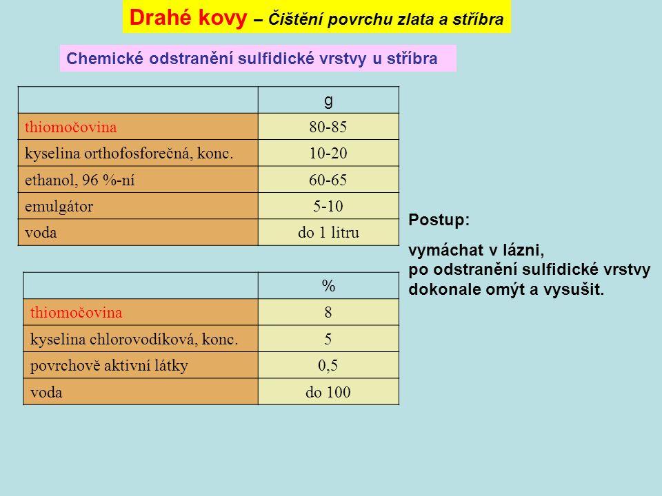 Chemické odstranění sulfidické vrstvy u stříbra Drahé kovy – Čištění povrchu zlata a stříbra g thiomočovina80-85 kyselina orthofosforečná, konc.10-20 ethanol, 96 %-ní60-65 emulgátor5-10 vodado 1 litru Postup: vymáchat v lázni, po odstranění sulfidické vrstvy dokonale omýt a vysušit.