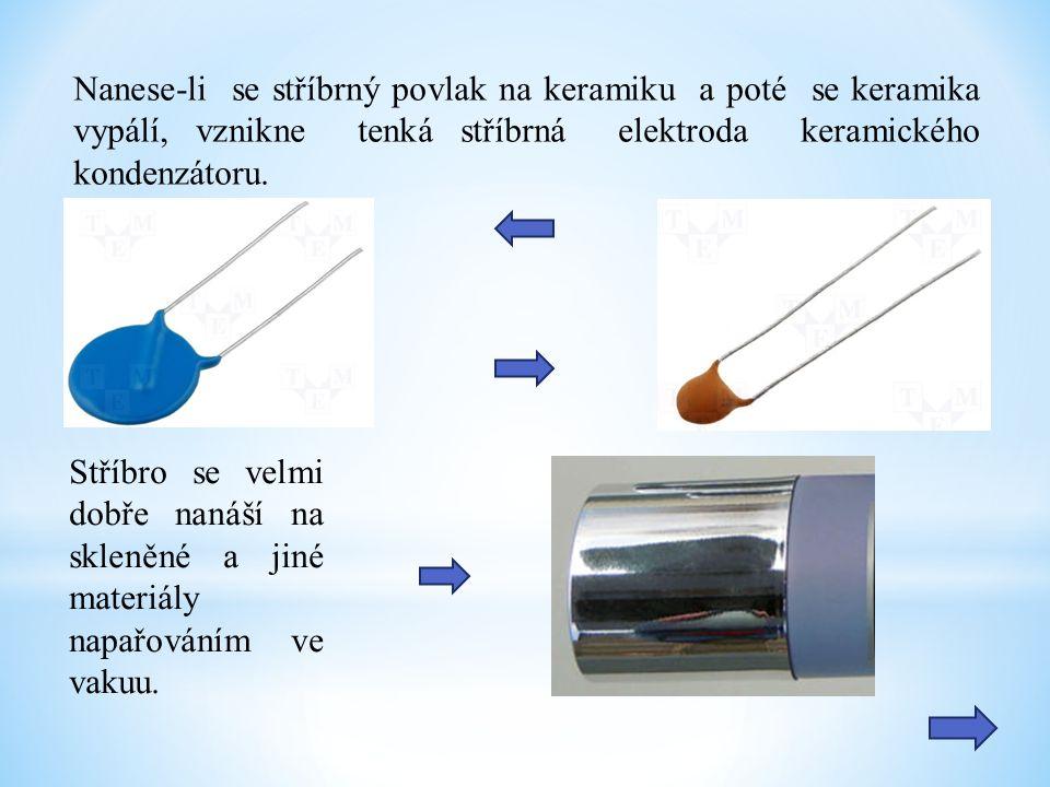 Nanese-li se stříbrný povlak na keramiku a poté se keramika vypálí, vznikne tenká stříbrná elektroda keramického kondenzátoru.