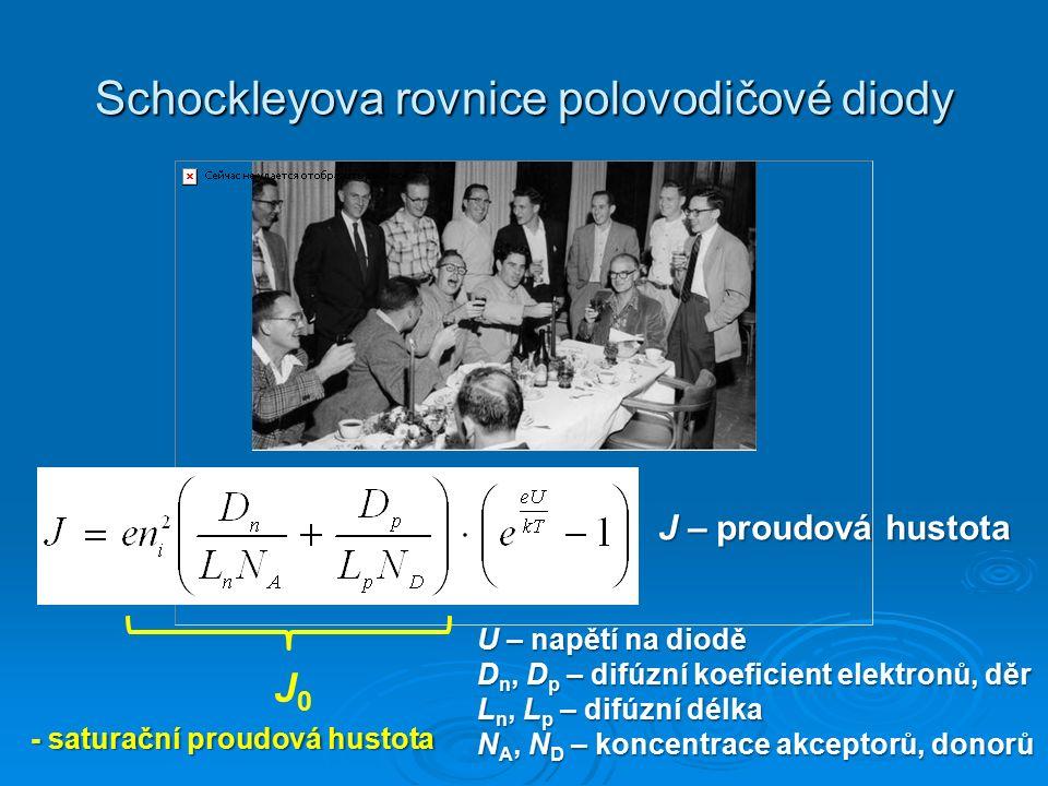 Schockleyova rovnice polovodičové diody J0J0 U – napětí na diodě D n, D p – difúzní koeficient elektronů, děr L n, L p – difúzní délka N A, N D – konc