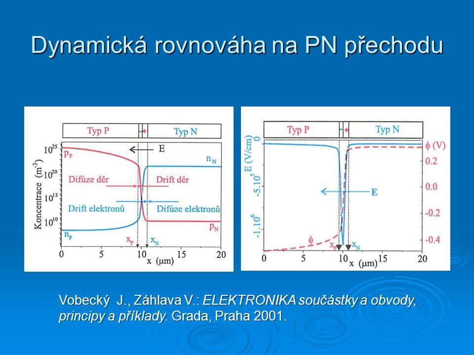 Dynamická rovnováha na PN přechodu Vobecký J., Záhlava V.: ELEKTRONIKA součástky a obvody, principy a příklady.