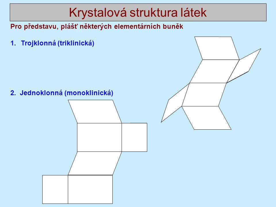 Krystalová struktura látek Pro představu, plášť některých elementárních buněk 1.Trojklonná (triklinická) 2.