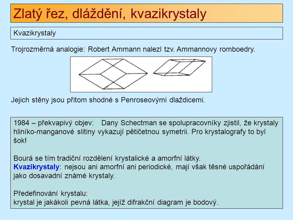 Zlatý řez, dláždění, kvazikrystaly Kvazikrystaly 1984 – překvapivý objev: Dany Schectman se spolupracovníky zjistil, že krystaly hliníko-manganové slitiny vykazují pětičetnou symetrii.