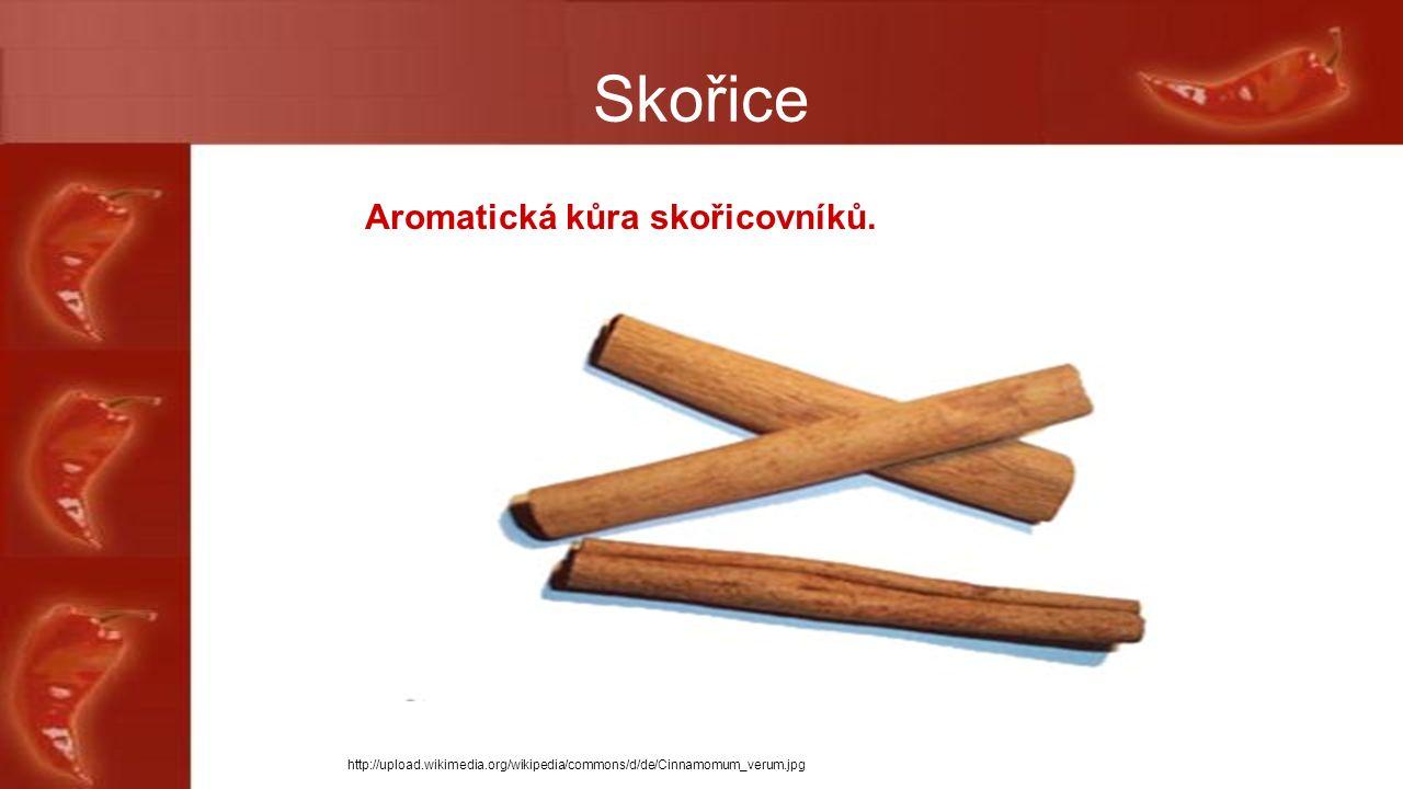 Skořice Aromatická kůra skořicovníků.