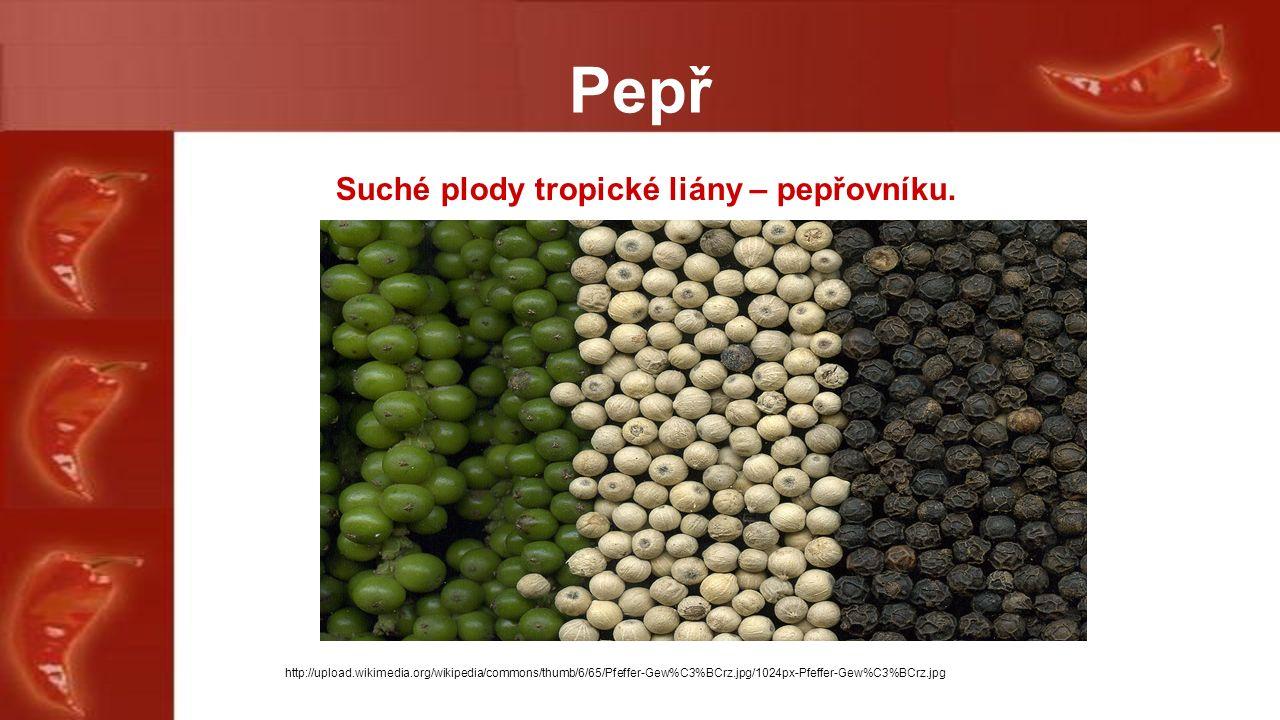 Pepř Suché plody tropické liány – pepřovníku.