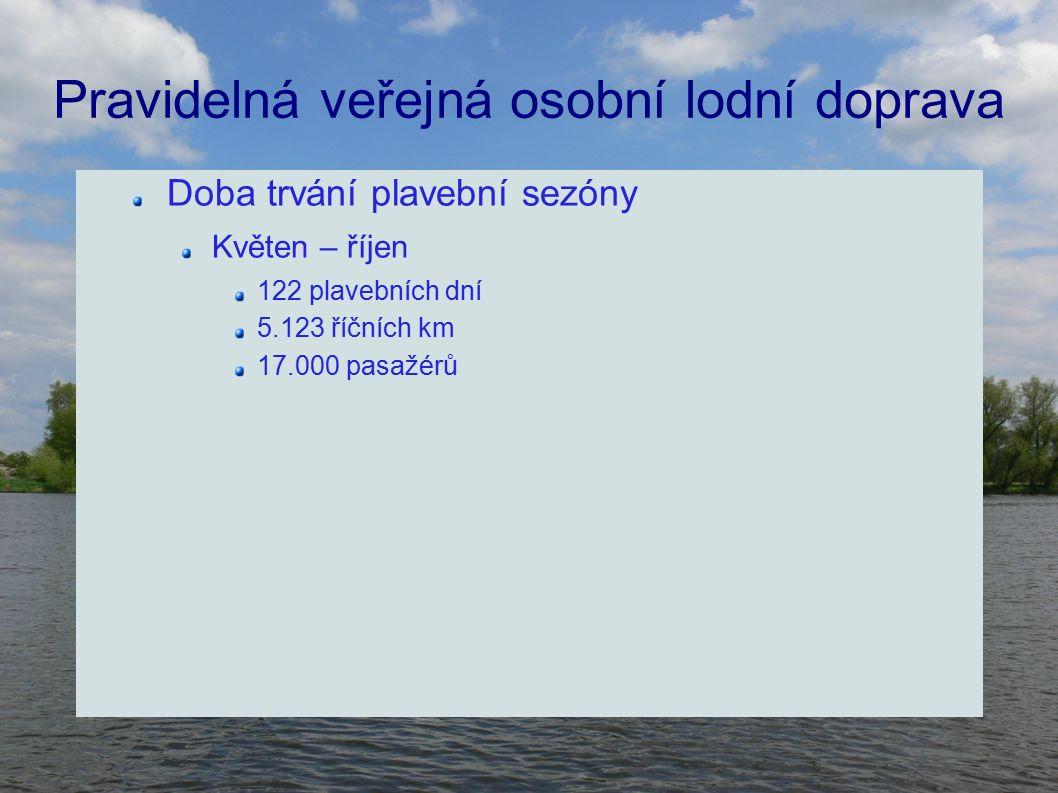 Pravidelná veřejná osobní lodní doprava Doba trvání plavební sezóny Květen – říjen 122 plavebních dní 5.123 říčních km 17.000 pasažérů