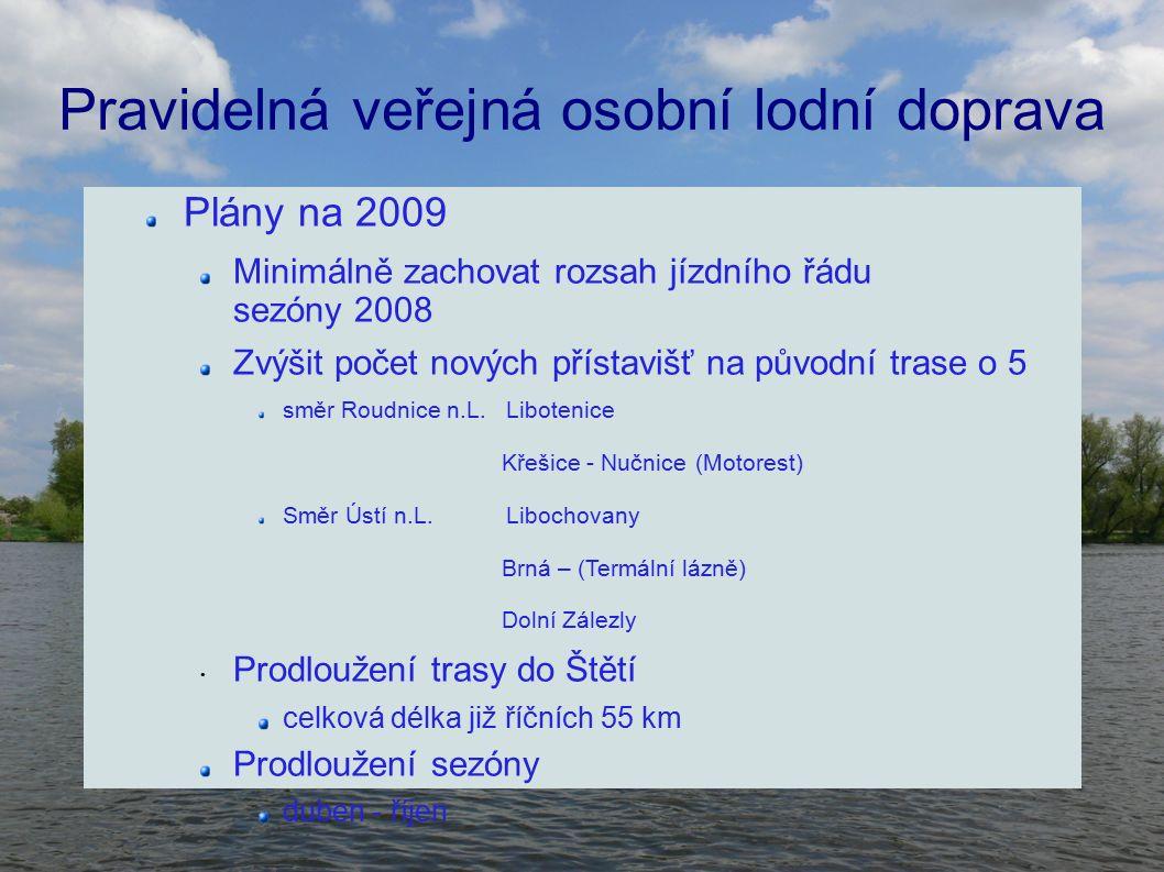 Pravidelná veřejná osobní lodní doprava Plány na 2009 Minimálně zachovat rozsah jízdního řádu sezóny 2008 Zvýšit počet nových přístavišť na původní trase o 5 směr Roudnice n.L.