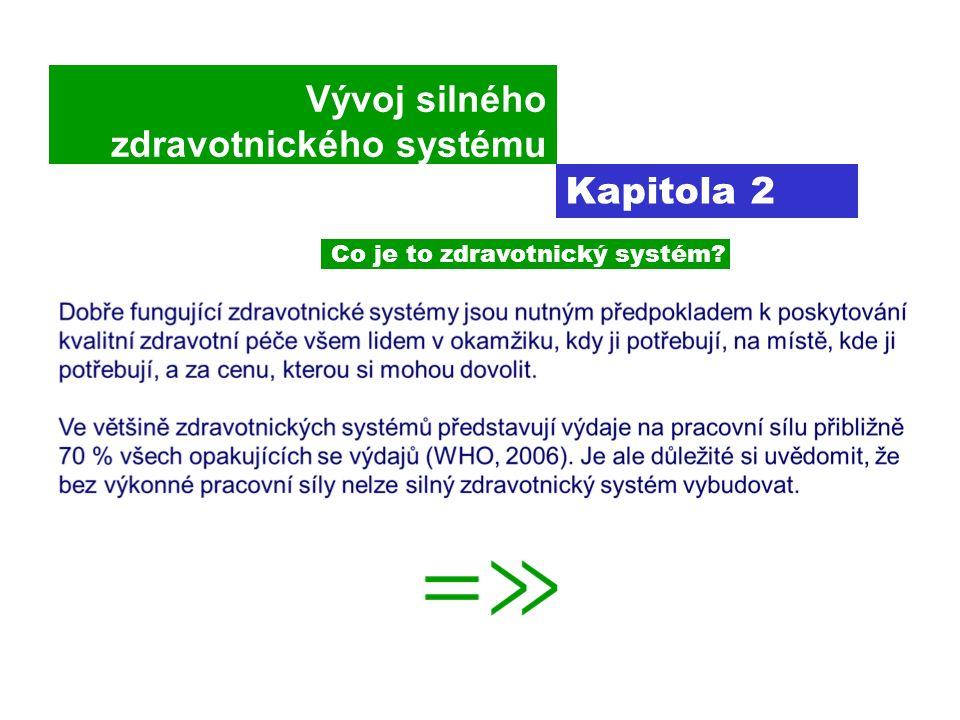 Vývoj silného zdravotnického systému Kapitola 2 Co je to zdravotnický systém
