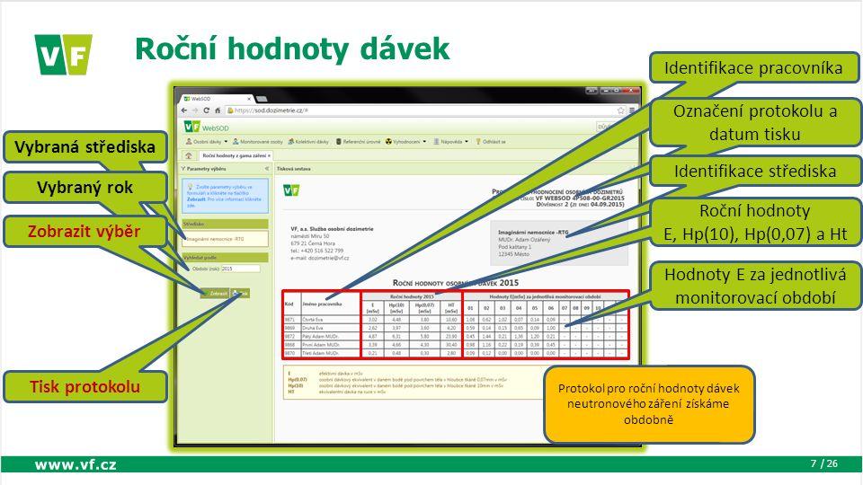 / 26 Roční hodnoty dávek 7 Vybraná střediska Vybraný rok Zobrazit výběr Identifikace pracovníka Označení protokolu a datum tisku Identifikace střediska Roční hodnoty E, Hp(10), Hp(0,07) a Ht Hodnoty E za jednotlivá monitorovací období Tisk protokolu Protokol pro roční hodnoty dávek neutronového záření získáme obdobně