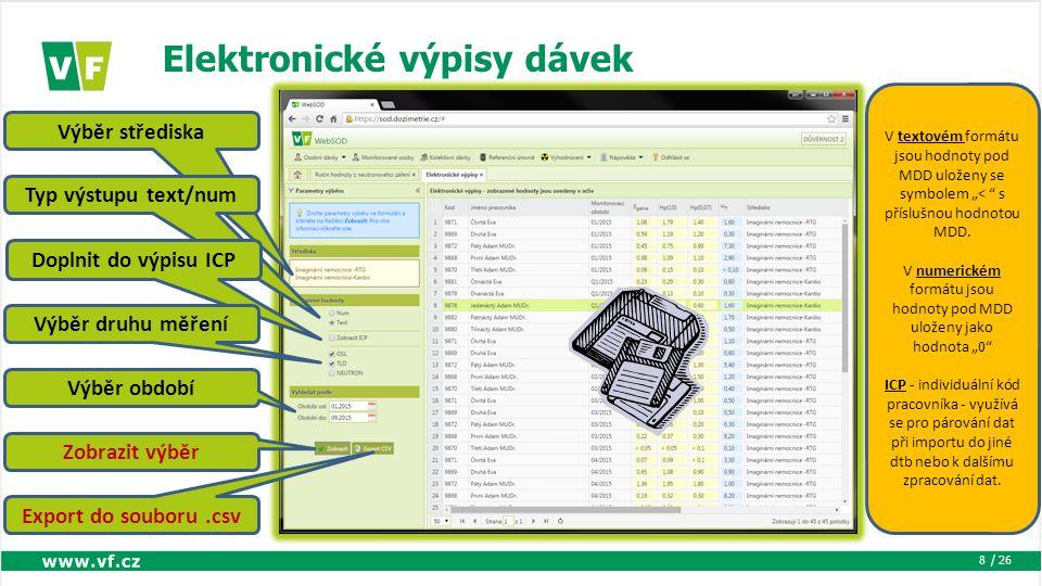 """/ 26 Elektronické výpisy dávek 8 Výběr střediska Typ výstupu text/num Doplnit do výpisu ICP Výběr druhu měření Výběr období Zobrazit výběr Export do souboru.csv V textovém formátu jsou hodnoty pod MDD uloženy se symbolem """"< s příslušnou hodnotou MDD."""