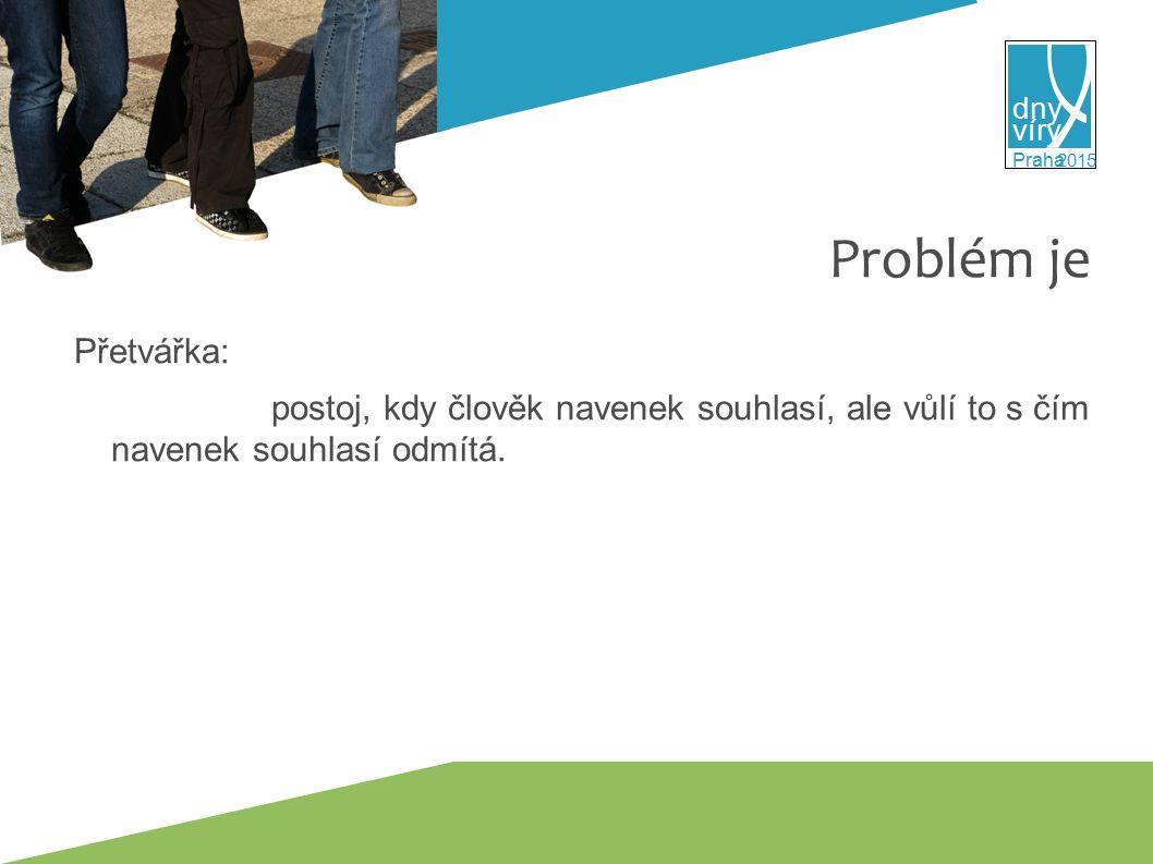 víry dny 2015 Praha Problém je Přetvářka: postoj, kdy člověk navenek souhlasí, ale vůlí to s čím navenek souhlasí odmítá.