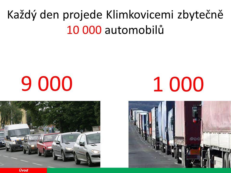 13 Úvod 9 000 1 000 Každý den projede Klimkovicemi zbytečně 10 000 automobilů