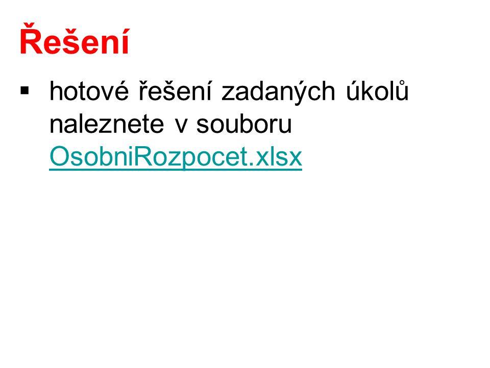 Řešení  hotové řešení zadaných úkolů naleznete v souboru OsobniRozpocet.xlsx OsobniRozpocet.xlsx