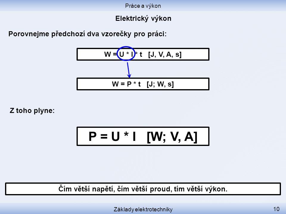 W = U * I * t [J, V, A, s] Porovnejme předchozí dva vzorečky pro práci: Práce a výkon Základy elektrotechniky 10 Čím větší napětí, čím větší proud, tí